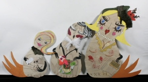 Degree Show, 3 Russian Dolls go shopping, 2008, mixed media on Plywood, 170cm the tallest